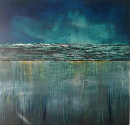 Tidescape - Blue Drag 122x122cm oil and mixed media on canvas_£3400 NEW WEB