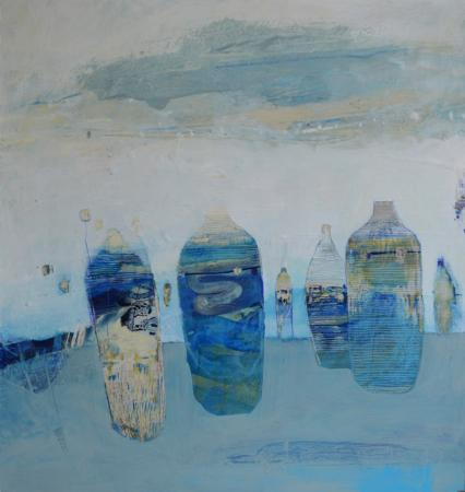 Blue Containers 51x51cm oil + mixed media on board Gall P £2,400