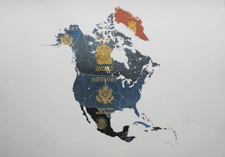 London Contemporary Art Yanko Tihov North America passport Map 2014 digital print and gold leaf £1300