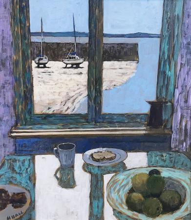Still Life with view-of-harbour
