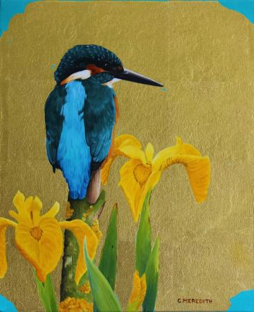 Kingfisher-&-flag-iris-1-12x10-oil-&-24-ct-gold-leaf