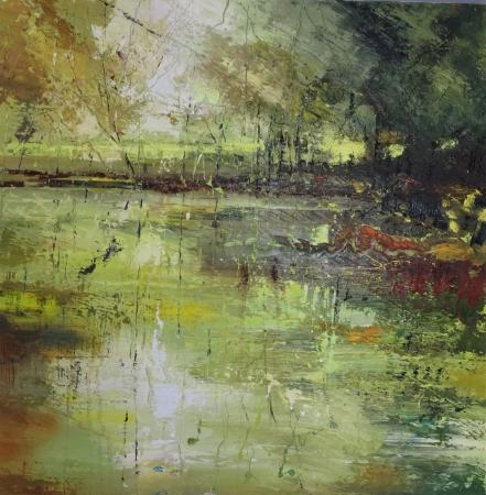 Reflecting-in-green-70x70cm