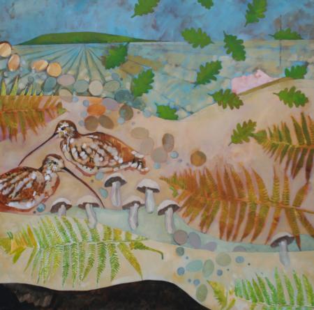 Pulling Bracken 100x100cm acrylic on canvas Gall P £1,900