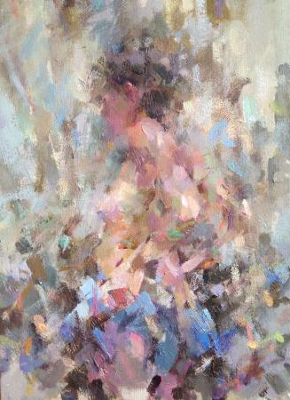 vittoria impressionist figurative nude woman oil painting