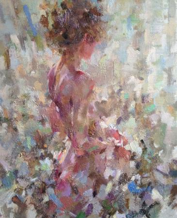 impressionist figurative nude woman oil painting