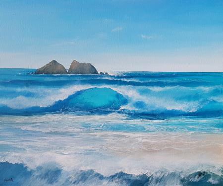beach ocean seascape holywell painting